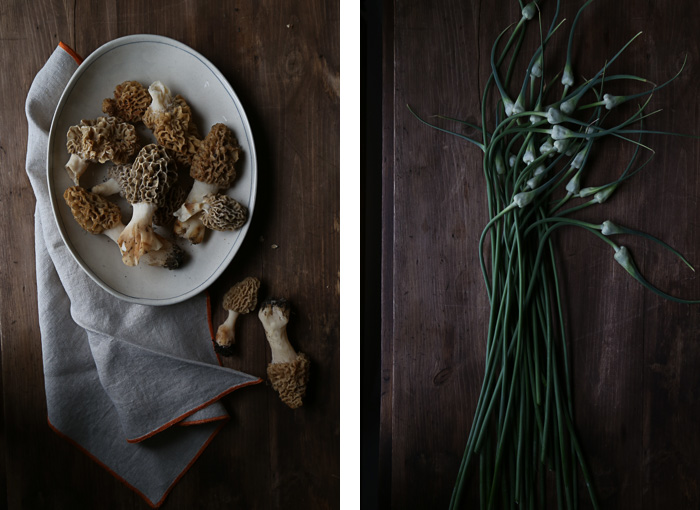 Morels and Garlic Scapes